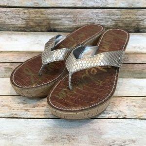 Sam Edelman ROMY Gold Faux Snakeskin Sandals
